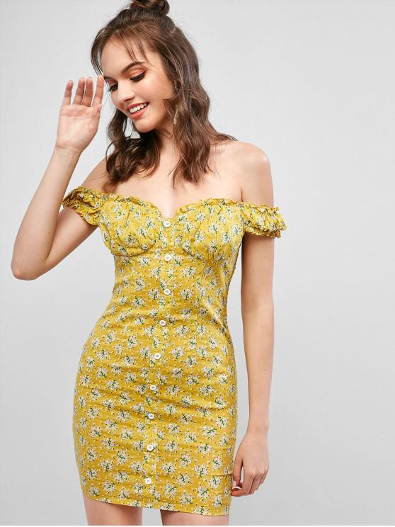 Vestido ajustado con hombros descubiertos y estampado floral de ZAFUL - Amarillo L