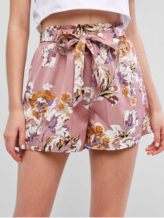 fashion ZAFUL Belted Flower Print Paperbag Waist Shorts - LIPSTICK PINK M