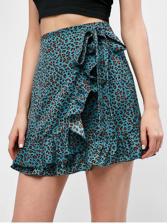 Falda atada con estampado de leopardo volante ZAFUL - Aguamarina Mediana L