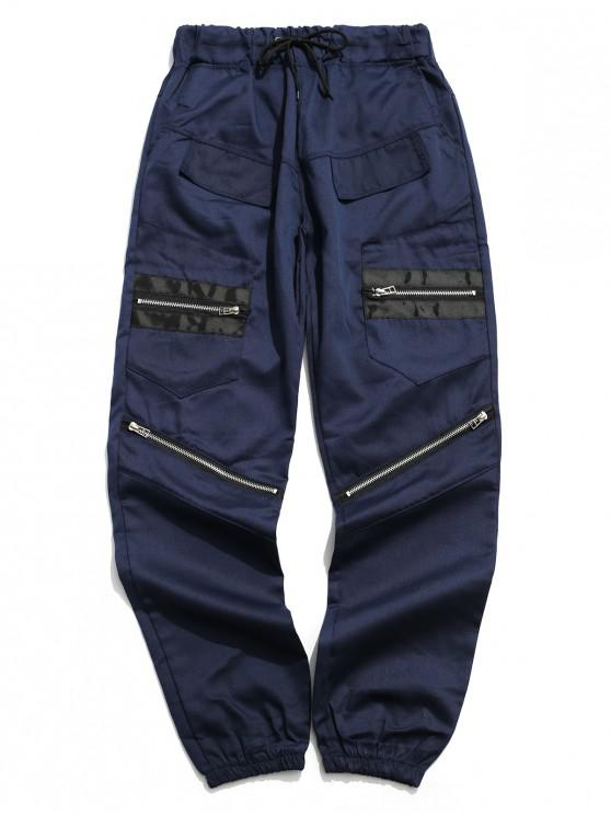women Zipper Fly Multi-pocket Long Jogger Pants - LAPIS BLUE L
