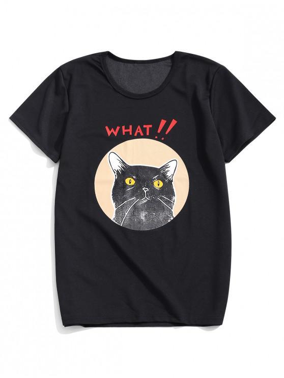 shops Funny What Letter Cartoon Cat Print Short Sleeves T-shirt - BLACK 2XL