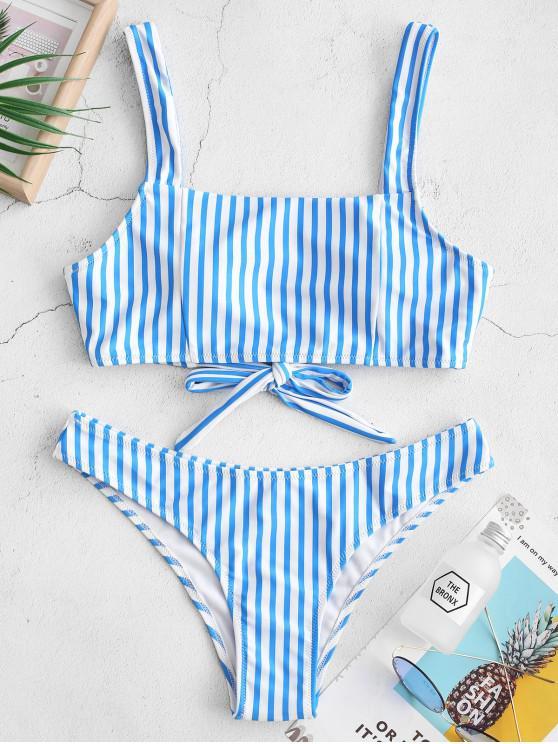 ZAFUL Striped Tie Back Bikini de cuello cuadrado Bikini - Multicolor-A L
