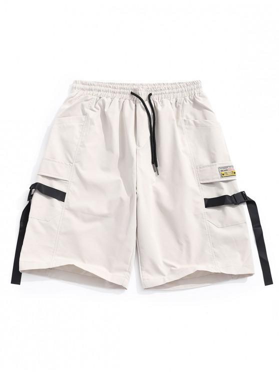 fancy Buckle Strap Applique Multi-pocket Casual Shorts - LIGHT KHAKI S
