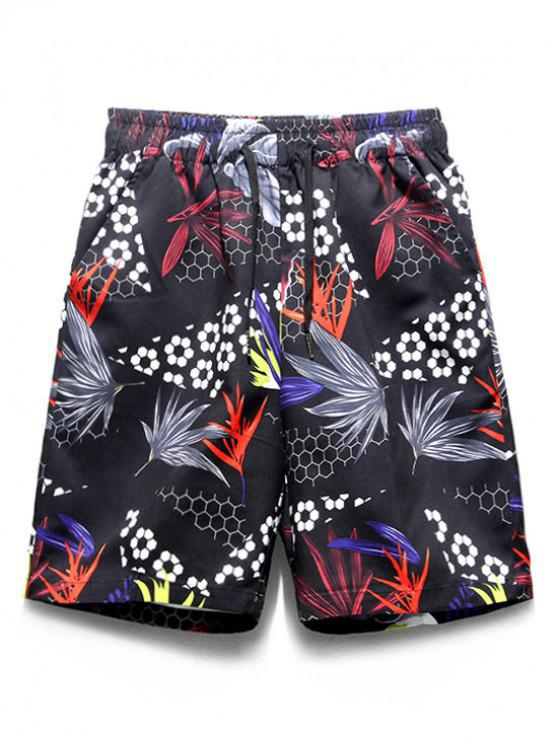 Pantalones cortos de tablero informal con estampado geométrico de plantas de flores - Multicolor XL