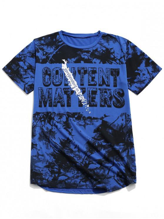 Cartas de pintura de impresión de manga corta camiseta casual - Azul de Arándanos L