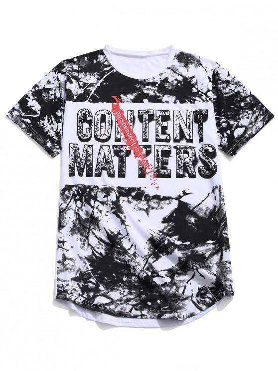 hot Letters Painting Print Short Sleeves Casual T-shirt - WHITE L