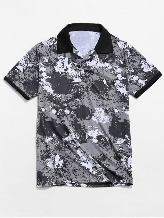 shops Turn Down Collar Painting Print Color Block Ringer T-shirt - MULTI L