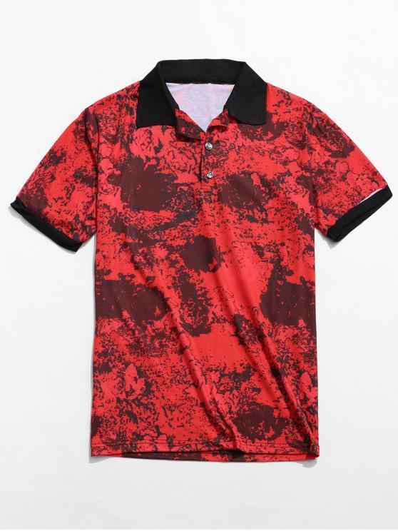 Camisa con cuello redondo y estampado de colores, estampado y cuello redondo - Multicolor-A M