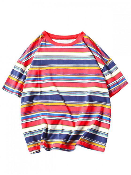 Camiseta de manga corta con estampado de rayas tribales retro - Rojo 4XL