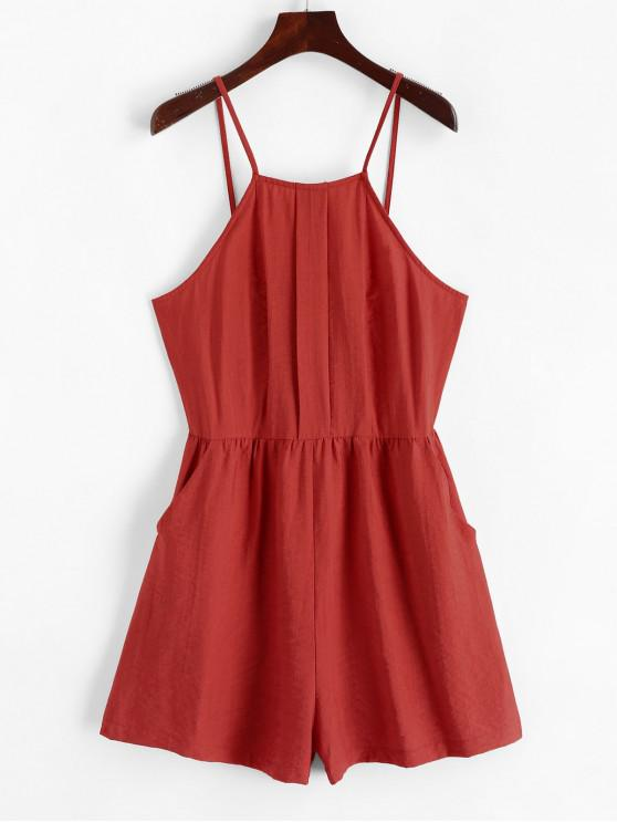 womens ZAFUL Backless Front Pocket Spaghetti Strap Romper - CHERRY RED M