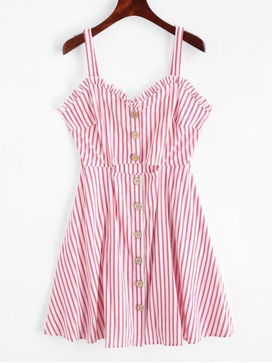 ladies ZAFUL Buttoned Striped Ruffles Sleeveless Dress - MULTI M