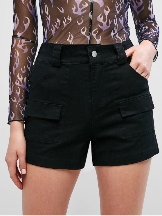 ladies Pockets High Waisted Chino Shorts - BLACK S