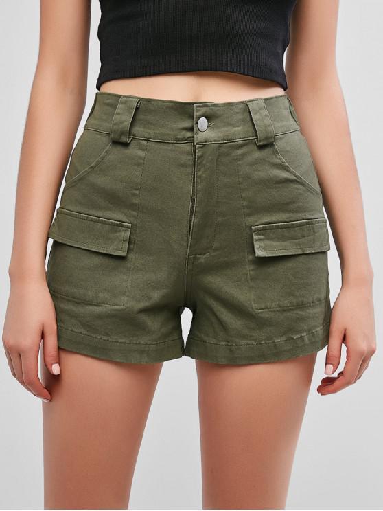 Карманные шорты с высокой талией - Зеленый M