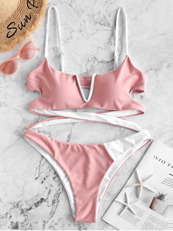 ladies ZAFUL V-wired Two Tone Reversible Bikini Swimsuit - ROSE S