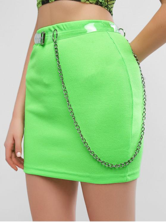 online Chains Belted Neon Sheath Skirt - GREEN L