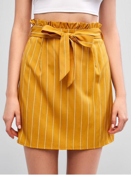 outfit ZAFUL Knotted Stripes Mini Paperbag Skirt - BEE YELLOW L