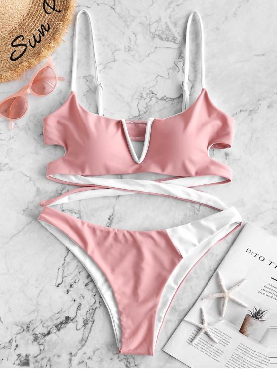 hot ZAFUL V-wired Two Tone Reversible Bikini Swimsuit - ROSE L