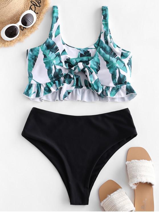 fashion ZAFUL Ruffle Tie Front Palm Leaf Tankini Swimsuit - BLACK S