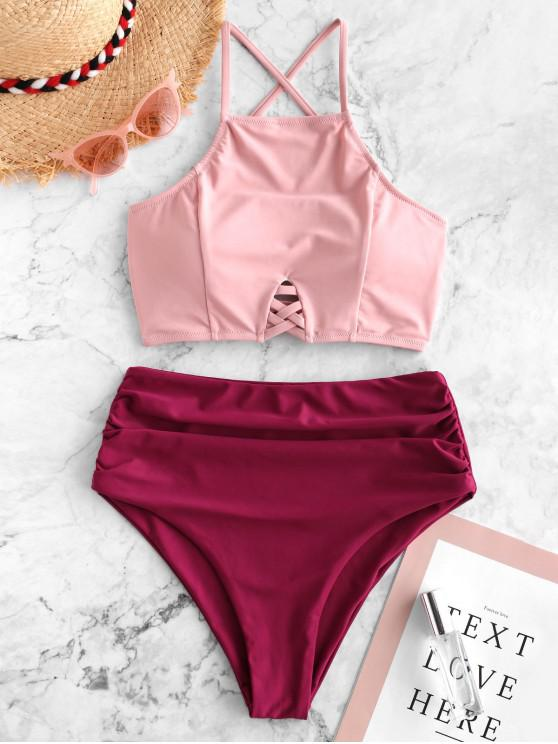 online ZAFUL Lattice Crisscross Ruched Mix and Match Tankini Swimsuit - MAROON S