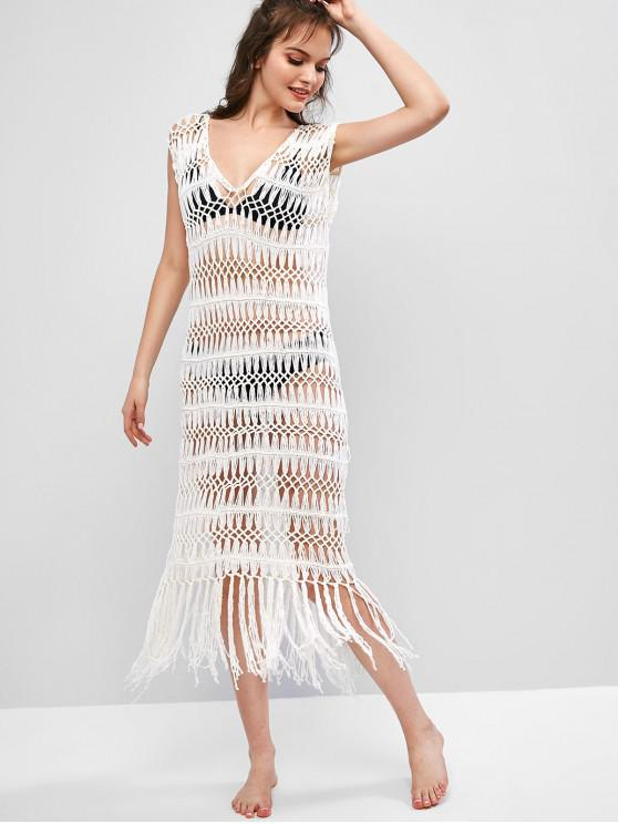 unique Openwork Plunging Tassel Cover Up Dress - WHITE ONE SIZE
