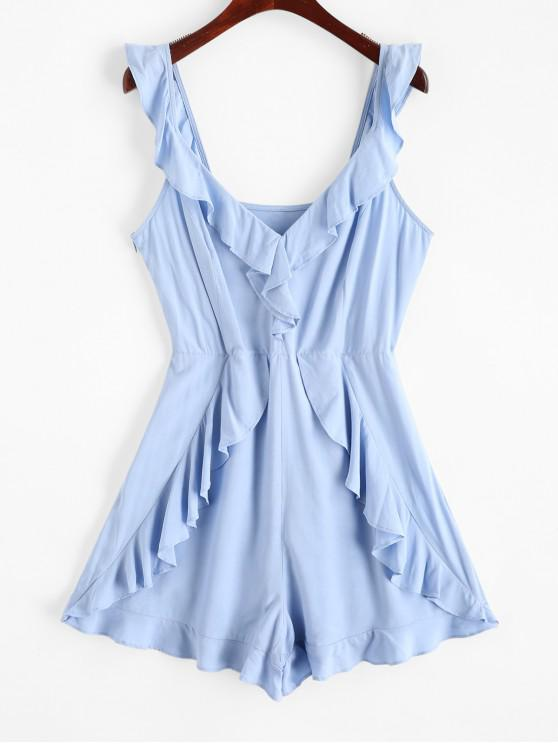 affordable ZAFUL Plunge Backless Ruffled Flounce Romper - PASTEL BLUE S