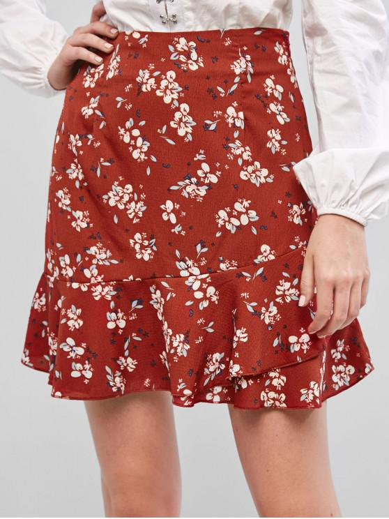 sale ZAFUL Ruffles Layered Floral A Line Skirt - CHESTNUT RED M