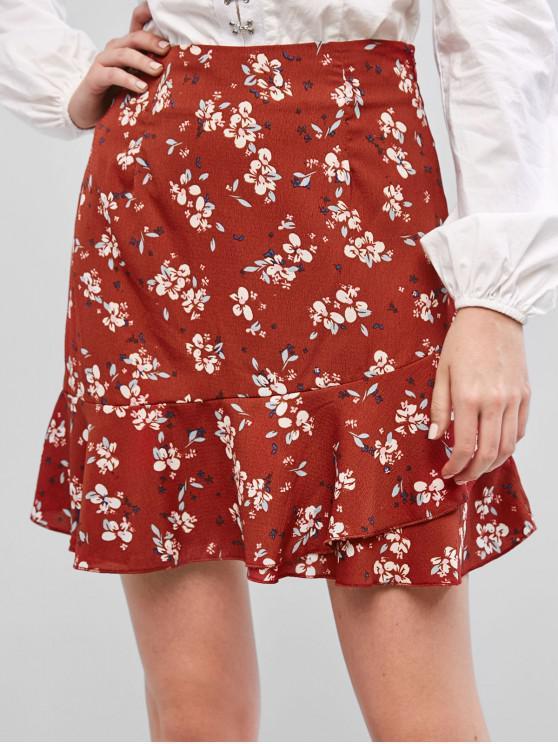 best ZAFUL Ruffles Layered Floral A Line Skirt - CHESTNUT RED XL