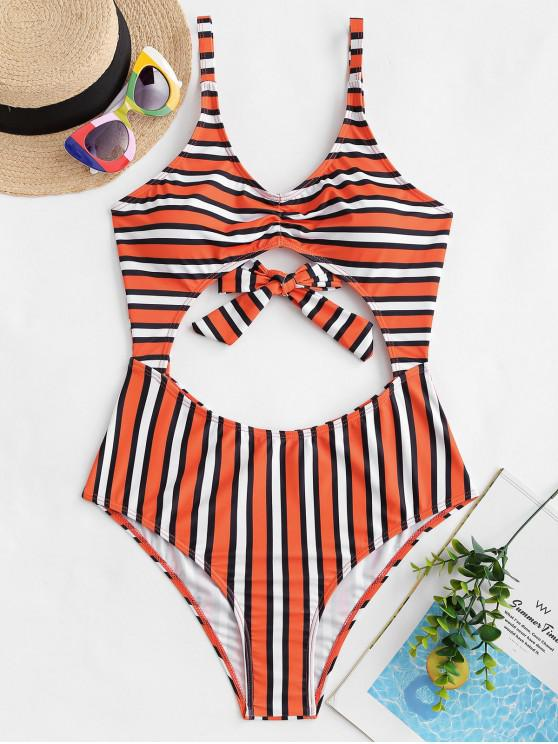 affordable ZAFUL Striped Tie Back Ruched Monokini Swimsuit - MULTI-A XL