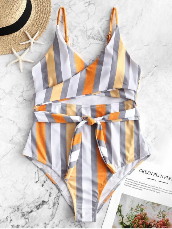 chic ZAFUL Multi Striped Cutout Wrap One-piece Swimsuit - MULTI-A XL