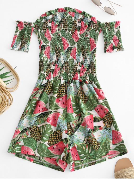 fashion Smocked Watermelon Pineapple Off Shoulder Romper - GREEN L
