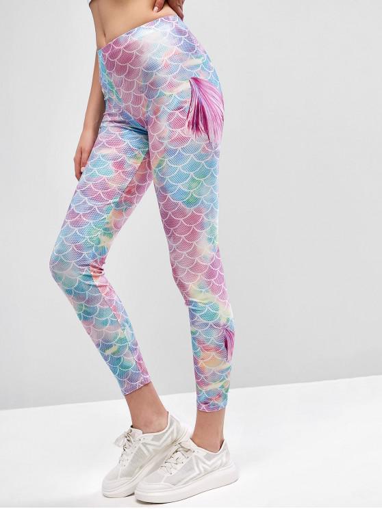 fancy Multicolor Mermaid Skinny Leggings - MULTI-A XL