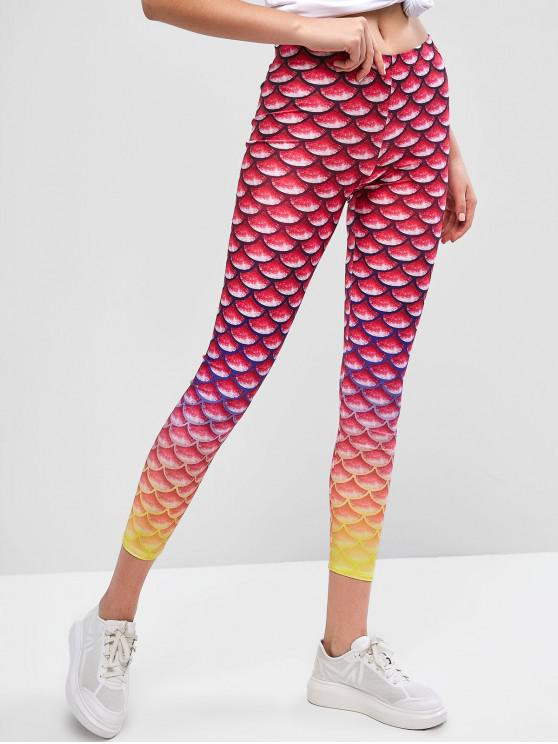 buy Mid Waist Ombre Mermaid Leggings - MULTI-A XL