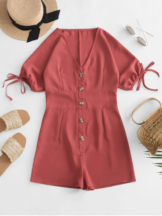 new Tied Sleeve V Neck Button Up Romper - CHOCOLATE M