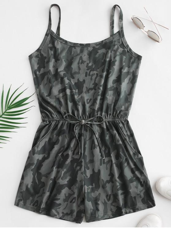 lady Tied Waist Camouflage Pockets Romper - ACU CAMOUFLAGE L