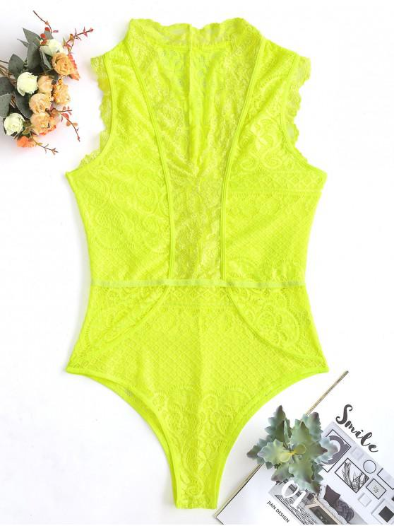 outfits Plunging Scalloped Lace Lingerie Teddy - GREEN YELLOW S