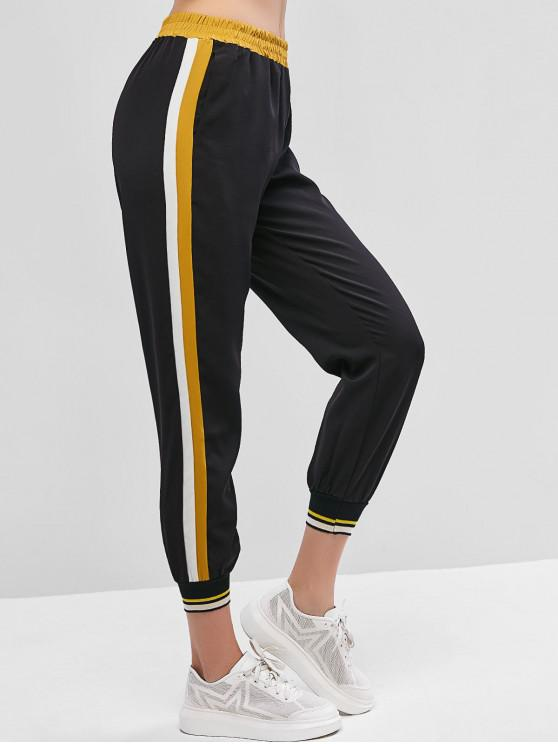 trendy High Waisted Stripes Panel Jogger Pants - BLACK XS
