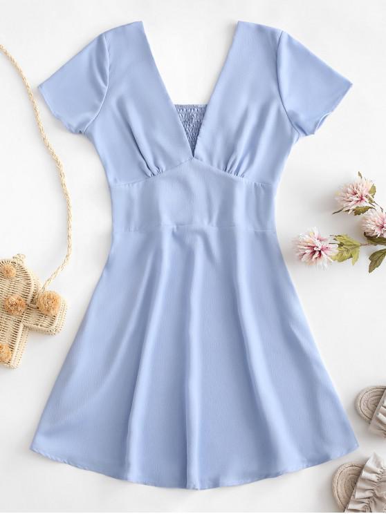 outfits Side Zipper Smocked A Line Mini Dress - LIGHT BLUE M