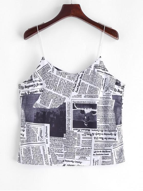 women's Newspaper Print Spaghetti Strap Top - MULTI XL