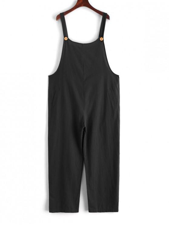 unique Solid Color Sleeveless Loose Jumpsuit - BLACK 2XL
