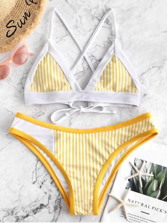 online ZAFUL Piping Crisscross Striped Bikini Swimsuit - YELLOW S