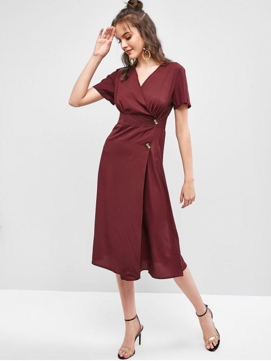 womens Low Cut Buttoned A Line Solid Dress - RED WINE M