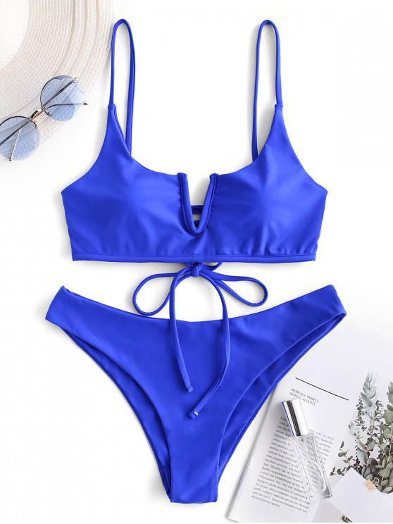 lady ZAFUL V-wired Lace-up Bralette Bikini Swimsuit - BLUEBERRY BLUE L