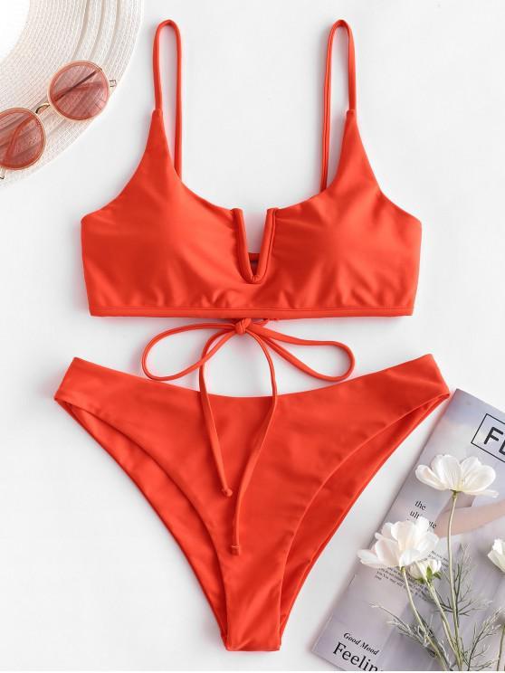 ZAFUL Bikini-Badeanzug mit V-Kabel und Schnürung - Leuchtend Orange S