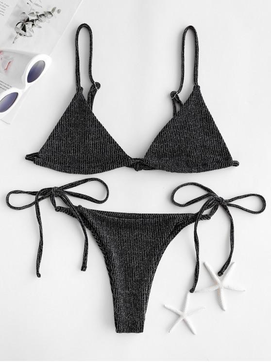 ZAFUL Glitter Bralette String Bikini Traje de baño - Multicolor-A L