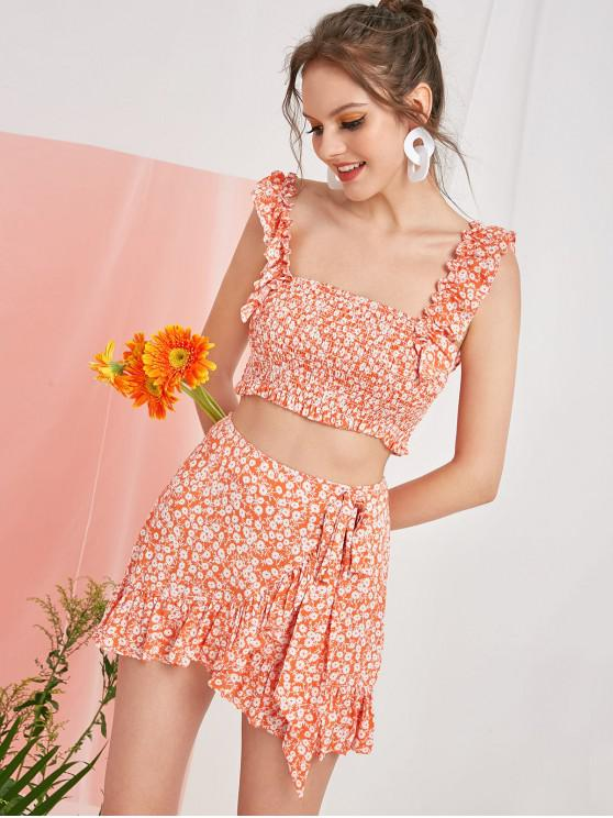 affordable ZAFUL Smocked Tiny Floral Top and Ruffles Skirt Set - BASKET BALL ORANGE S