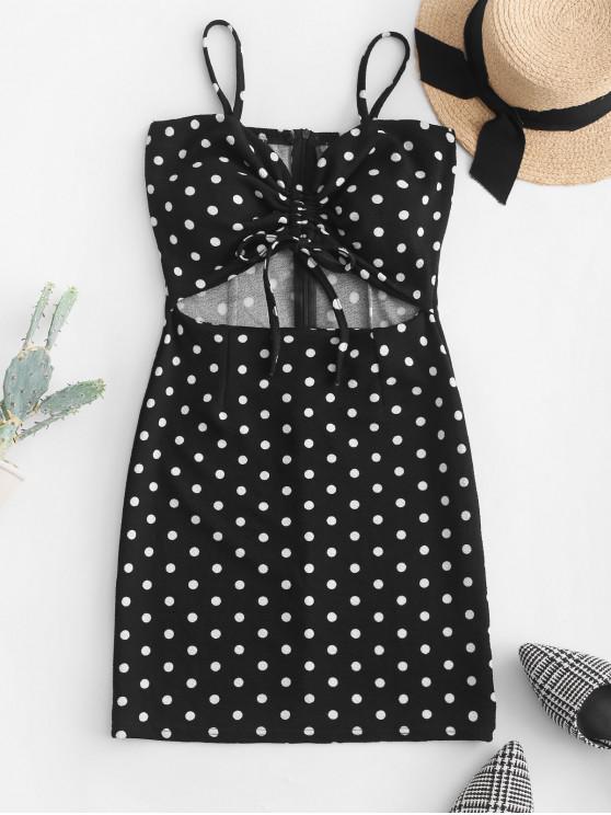 shop Cinched Cut Out Polka Dot Mini Dress - BLACK S