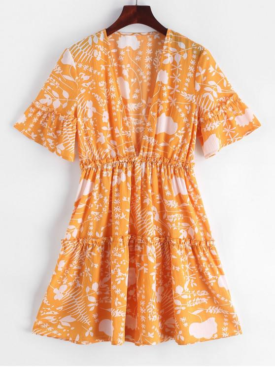 sale ZAFUL Low Cut Frilled Printed A Line Dress - BEE YELLOW L