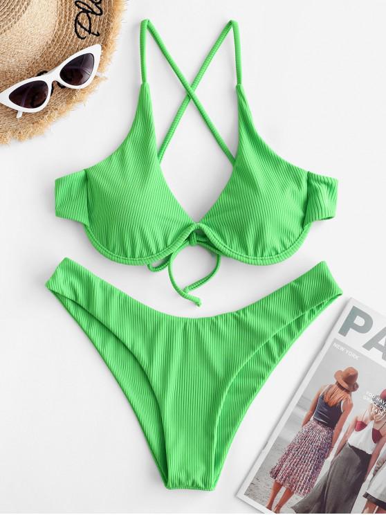 women ZAFUL Ribbed Criss Cross Push Up Bikini Swimsuit - YELLOW GREEN S