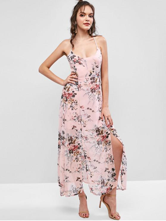 latest Floral Criss Cross Lace Up Slit Maxi Dress - LIPSTICK PINK L