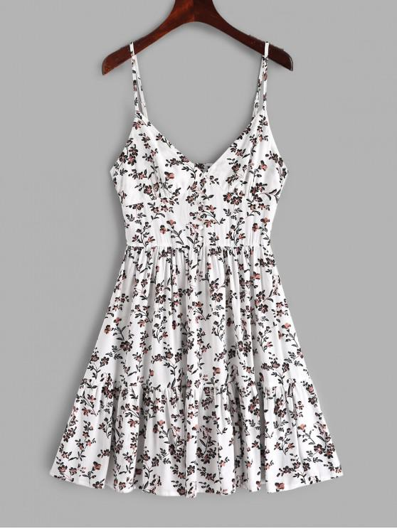 trendy ZAFUL Buttons Floral Print A Line Cami Dress - WHITE M